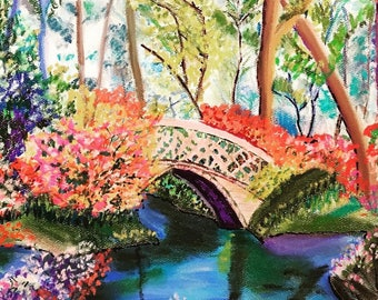 Giclee Print From Original Pastel-The Bridge-Neo Impressionism-Abstract Landscape