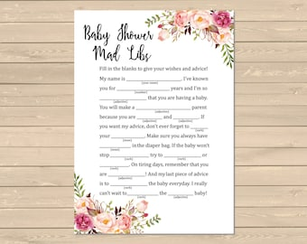 Boho Mad Libs Printable Activity, Floral Mad Libs Printable Activity, Boho Baby Shower, Peonies Game, DIY Mad Libs, Instant Download, 025-W