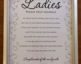 Wedding Bathroom Sign for Guests