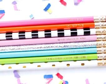 Pep Talk Pencils Pink, Set of 8 Hex Pencils, Personalize pencils, stocking, Engraved Pencils, Imprint Pencils, TED082-PNCL