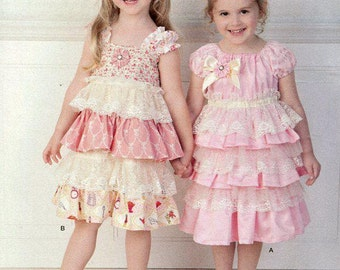 FREE US SHIP Simplicity 1474 Girls ruffle Dress Headband Melissa Myers Designer Size 2 3 4 5 6 6x Sewing Pattern Uncut New