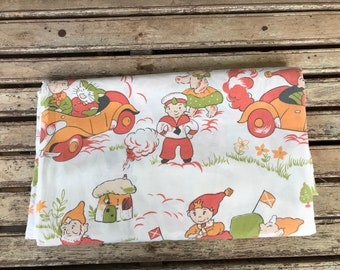 Vintage Noddy Flat Sheet  - 1970's Children's Sheet - Single sheet - Noddy Fabric