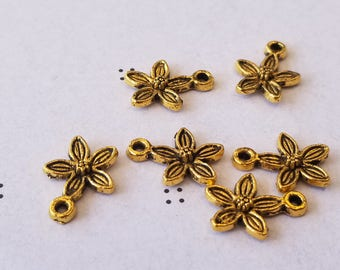 Antiqued gold Flowers Charms