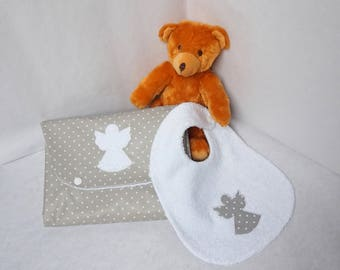 Gift set of birth réversibles Nomad and grey striped pattern Angel baby bib