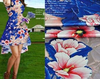 Blue Foliage Leaf and Floral Print Beige Stretch Silk Satin Fabric Width 42 inch