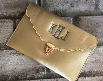GOLD CLUTCH BAG - Gold Purse - Envelope Clutch - Evening Bag - Gift for Her - Envelope Purse - Leather Clutch - Personalized Bag - Clutch