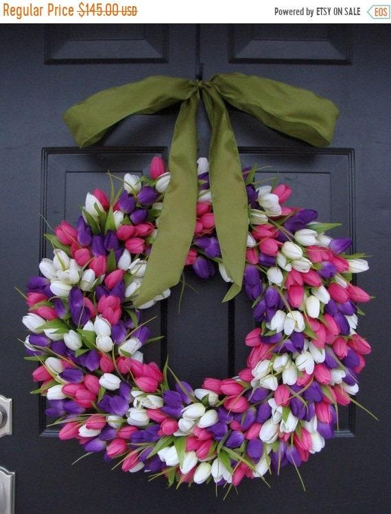 SUMMER WREATH SALE Original Tulip Spring Wreath with Ribbon, Spring Wreath, Door Wreath, Spring Decor,  24 inch Easter Wreath, Spring Decora