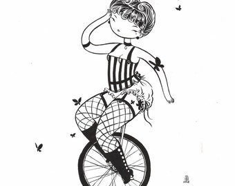Unicycle - original drawing 11x14 fine art black and white painting - circul girl