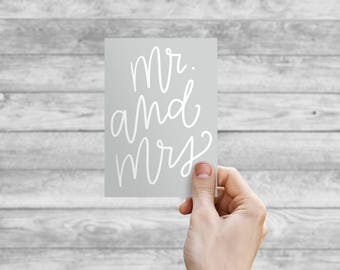 Greeting Card - Mr. and Mrs. | Hand Lettering, Thank You Card, Wedding Card, Birthday Card, Bday Card