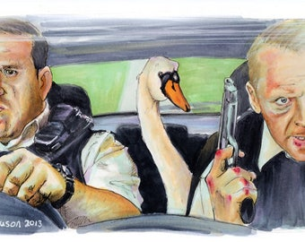 Hot Fuzz - Maybe it was the Swan  Poster Print