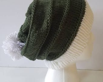 Green and White Simple Slouchy Hat with Pompom