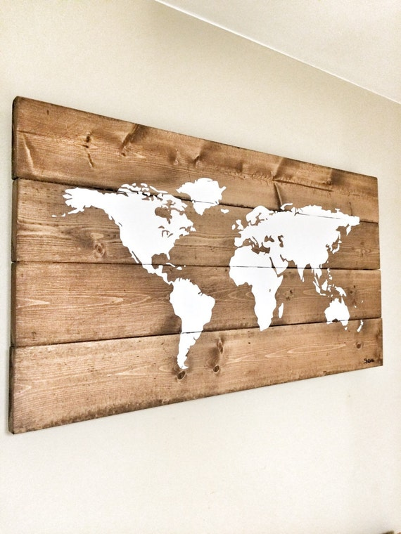 Rustic wood world map rustic decor farmhouse decor rustic rustic wood world map rustic decor farmhouse decor rustic nursery decor wall decor wooden white world map 46 x 22 gumiabroncs Image collections