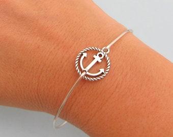 Anchor Bracelet Silver Tone Anchor Charm Bracelet Anchor Jewelry Navy Mom Bracelet Navy Girlfriend Bracelet Nautical Gift for Women for Her