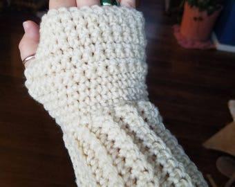 Women's Crochet Cream fingerless mittens