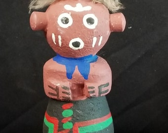 """Vintage Hopi route 66 Kachina Doll """"mudhead"""" by Pooley mid to late 20th century hand carved"""