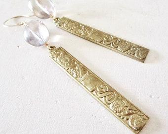 Taurus Bull Smoky Quartz & Vintage Brass Gold Fill Earrings - Metal - Etsy Jewelry - catROCKS - Horoscope - Grace and Frankie - Sunflower