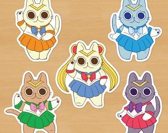 Sailor Moon Cat Stickers // Sailor Senshi Kitties, Mars, Jupiter, Mercury, Venus, anime, cute stationery, planner, matte vinyl, kawaii