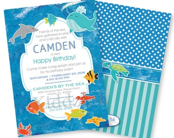 Under the Sea Printable Birthday Invitation | 5x7 with Two Sides | Ocean Theme | Customized DIGITAL FILE for Printing