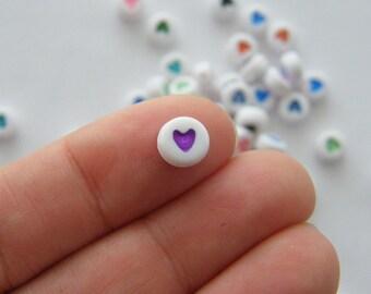 100 Acrylic round heart 7mm RANDOM beads AB13