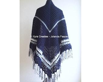 PATR1058 - Xyra Crochet-pattern - Wrap / shawl with ridges and beautiful edge / Haakpatroon - Omslagdoek ribbels/sierrand (NL & English-US)