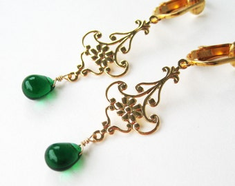 Green and Gold Clip-on Earrings, Emerald Glass Drop Dangle Clipons, Gold Ear Clips, Lightweight Non Pierced Earrings, Maryanne Green Gold