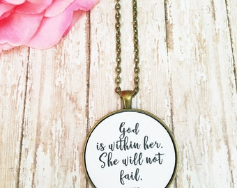 God is Within Her She Will Not Fail Necklace,Mom Daughter Jewelry,Best Friend Necklace,Miscarriage Necklace,Mothers Day,Mom Necklace