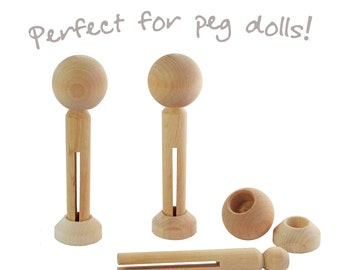 Three sets of peg doll parts - heads, pegs and stands for wooden dolly pegs, angels, cake toppers and craft project