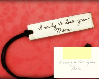Handwriting Bookmark. Memorial Jewelry. Your Actual Loved Ones Signature or Handwriting. Signature Bookmark. Sterling Silver.