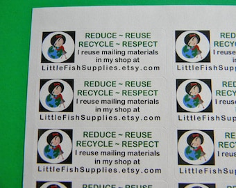 30 PERSONALIZED Go Green Labels. 1 Sheet White 1-Inch Labels. 5398