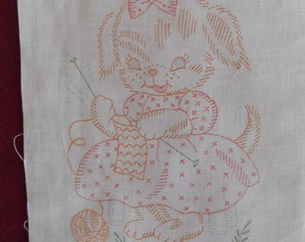 8 vintage Kiddie Quilt Block squares to embroider