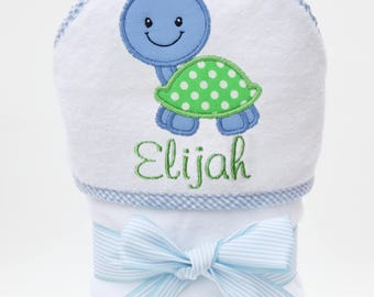 Personalized Baby Towel, Hooded Bath Towel, Baby Bath Towel, Monogrammed Towel, Turtle Towel, Baby Beach Towel, Turtle Baby, Baby Boy Gift