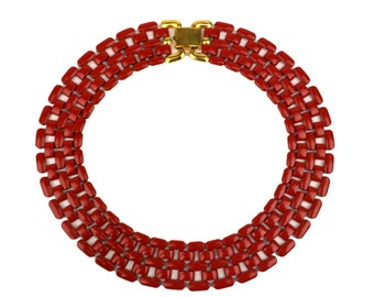 Vintage Napier Red Enamel Tank Track Necklace // 1960's Signed Costume Jewelry // Cherry Red Metal Statement Necklace