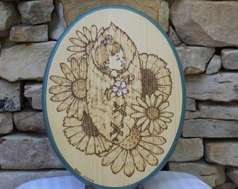 Sleeping Baby With Flowers Woodburning Pyrography