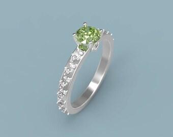 Peridot Engagement Ring White Gold Peridot Ring Peridot Diamonds White Gold Engagement Ring Peridot Halo Engagement Ring