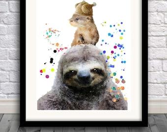 Sloth print,Otter print,sloth painting,sloth watercolor,wall art,Pic no 95