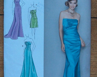 2010 simplicity pattern 2252 misses evening dress in 2 lengths sz 4-12 uncut special occasion wedding grad