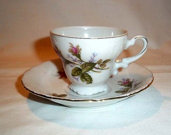 Vintage Ucago Made In Japan Porcelain Demitasse Cup and Saucer / Moss Rose Pattern / Pink Roses and Gold Decoration
