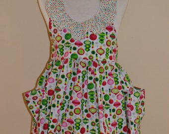 Christmas Ornament Full Apron with Ruffle