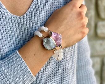 Allie - Moonstone Beaded Bracelet - Quartz Charm
