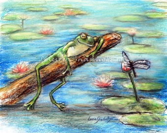 """Frog, dragonfly nursery, funny, wildlife, Canvas or art paper print, """"Are You Sleeping Little Frog?"""" by Laurie Shanholtzer"""