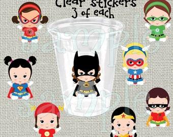 24 baby Girl Superhero Birthday Party stickers Super hero party decorations party cup stickers Superhero party favors Superhero baby shower