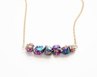 Titanium Druzy Necklace | 14k Gold Filled | Sterling Silver | Raw Stone Jewelry | Raw Stone Necklace