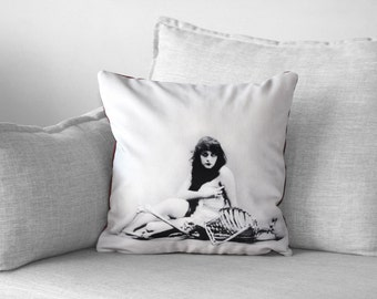 "theda bara - 18"" velveteen pillow case -  the vamp"