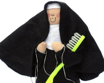 "Nun doll religious Catholic humor keepsake gift  ""Sister Flossie"" the dental hygienist"