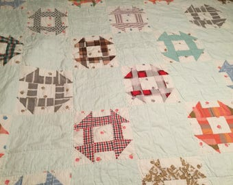 Quilt Blue Vintage Baby Blue Multi Colored Churn Dash Quilt 70x64