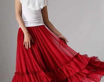 Maxi skirt red chiffon skirt women long skirt with tiered hem - custom made  (985)