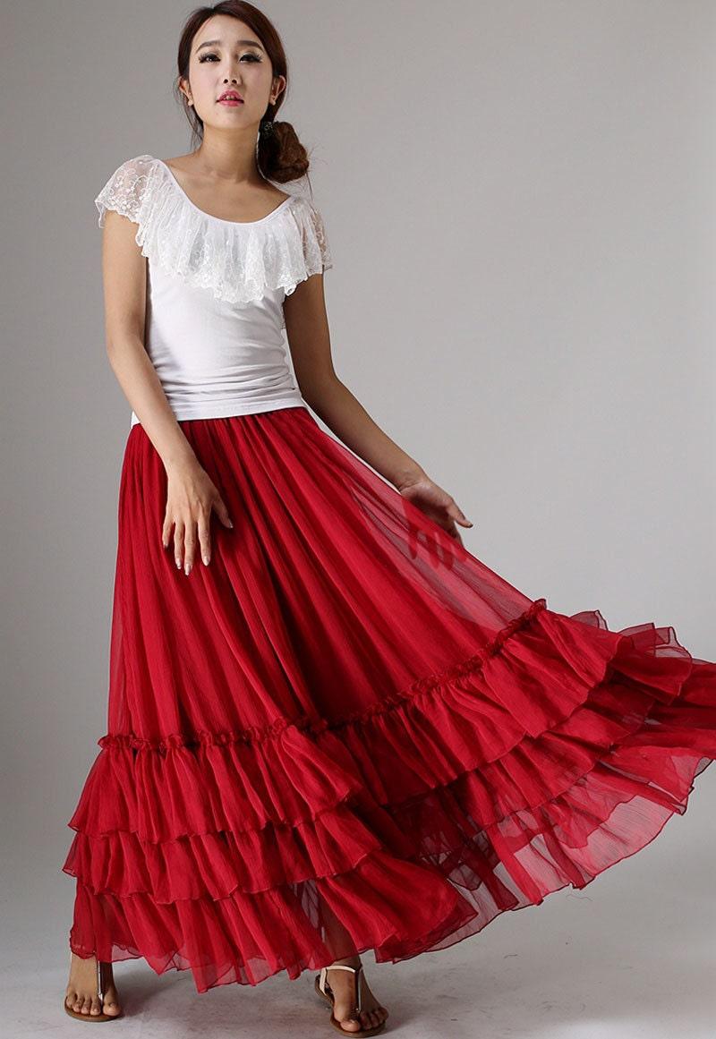 Maxi skirt red chiffon skirt women long skirt with tiered hem