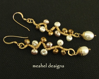 Pearls and Gold Artisan Earrings by Meshel.  Copper and ivory freshwater pearls on hand forged gold filled branch frames.  Pearl dangle.