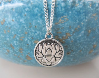 Lotus necklace, yoga necklace, lotus jewelry, double sided charm