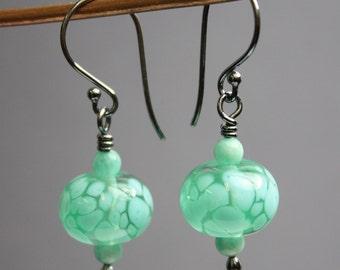 Green Earrings, Green Lampwork Earrings, Green Beaded Earrings, Green Dangle Earrings, Handmade Earrings, Kathy Bankston, Lampwork Earrings